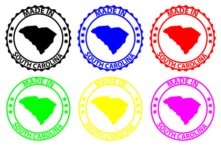 Made in South Carolina - rubber stamp - vector, South Carolina (United States of America) map pattern - black, blue, green, yellow, purple and red