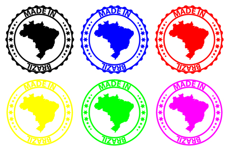 Made in Brazil - rubber stamp - vector, Brazil map pattern - black, blue, green, yellow, purple and red