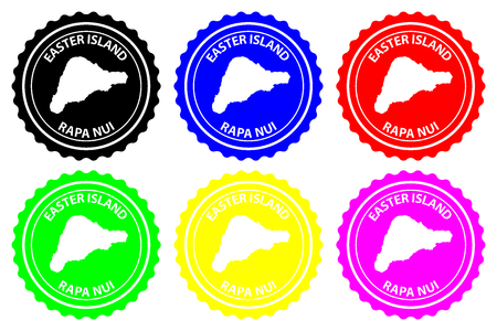 Rapa Nui - rubber stamp - vector, Easter Island map pattern - sticker - black, blue, green, yellow, purple and red Illustration