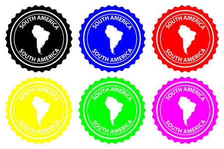 South America - rubber stamp - vector, South America continent map pattern - sticker - black, blue, green, yellow, purple and red