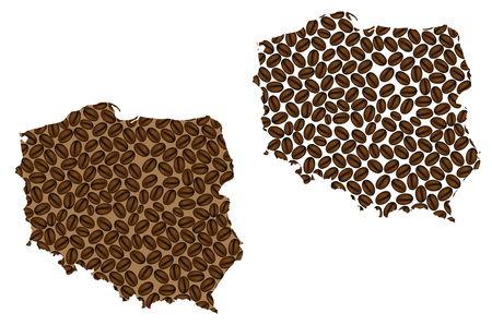 Poland -  map of coffee bean, Republic of Poland map made of coffee beans,