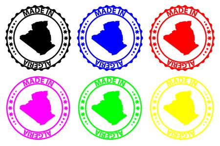 Made in Algeria - rubber stamp - vector, Algeria map pattern - black, blue, green, yellow, purple and red Vektoros illusztráció