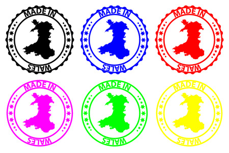 Made in Wales - rubber stamp - vector, Wales map pattern - black, blue, green, yellow, purple and red