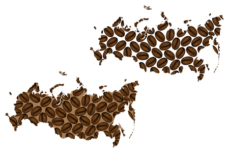 Russia - map of coffee bean, Russian Federationo map made of coffee beans,