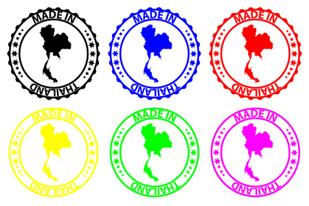 Made in Thailand - rubber stamp - vector, Kingdom of Thailand (Siam) map pattern - black, blue, green, yellow, purple and red