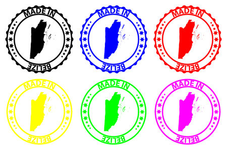 Made in Belize  - rubber stamp - vector, Belize  map pattern - black, blue, green, yellow, purple and red