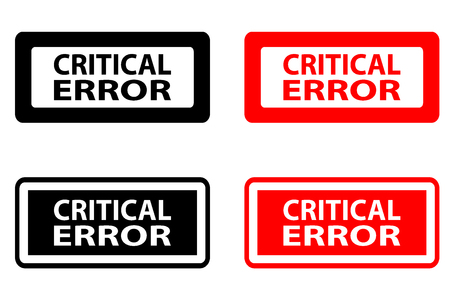 Critical error  - rubber stamp - vector - black and red