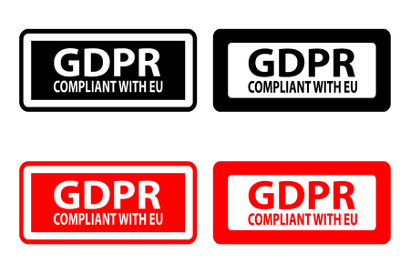GDPR compliant with EU (General Data Protection Regulation) - rubber stamp - vector - black and red, 向量圖像
