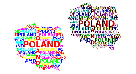 Sketch Poland letter text map, Republic of Poland - in the shape of the continent, Map Poland - color vector illustration