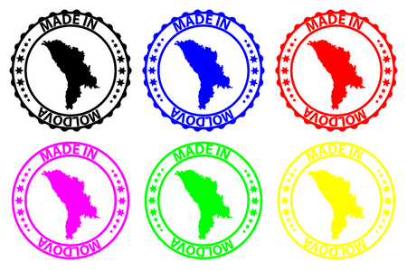 Made in Moldova - rubber stamp - vector, Moldova map pattern - black, blue, green, yellow, purple and red