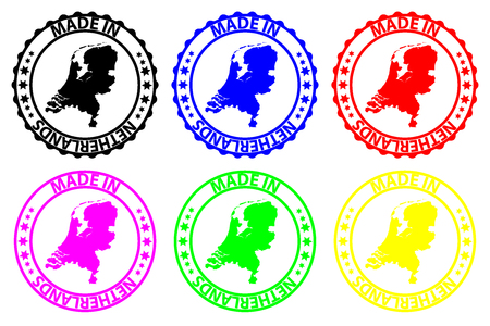 Made in Netherlands - rubber stamp - vector, Netherlands map pattern - black, blue, green, yellow, purple and red