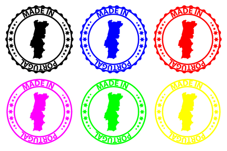 Made in  Portugal - rubber stamp - vector,  Portugal map pattern - black, blue, green, yellow, purple and red Illusztráció