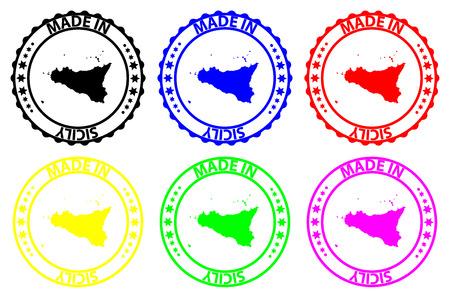 Made in Sicili - rubber stamp - vector, Sicili map pattern - black, blue, green, yellow, purple and red Illusztráció