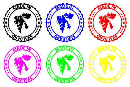 Made in Svalbard - rubber stamp - vector, Svalbard map pattern - black, blue, green, yellow, purple and red Illusztráció