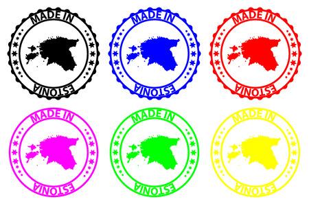 Made in Estonia - rubber stamp - vector, Estonia map pattern - black, blue, green, yellow, purple and red Vektoros illusztráció