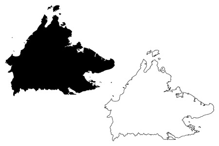 Sabah (States and federal territories of Malaysia, Federation of Malaysia) map vector illustration, scribble sketch Sabah map