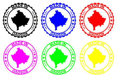 Made in Kosovo - rubber stamp - vector, Kosovo map pattern - black, blue, green, purple, yellow and red
