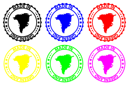 Made in  Greenland - rubber stamp - vector,  Greenland map pattern - black, blue, green, yellow, purple and red