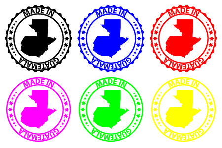 Made in Guatemala - rubber stamp - vector, Guatemala map pattern - black, blue, green, yellow, purple and red