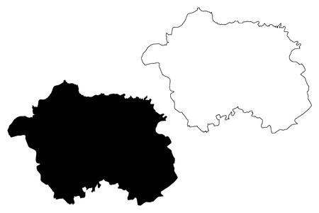 Eskisehir (Provinces of the Republic of Turkey) map vector illustration, scribble sketch Eskişehir ili map