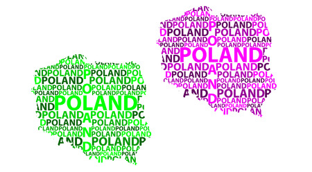 Sketch Poland letter text map, Republic of Poland - in the shape of the continent, Map Poland - green and purple vector illustration