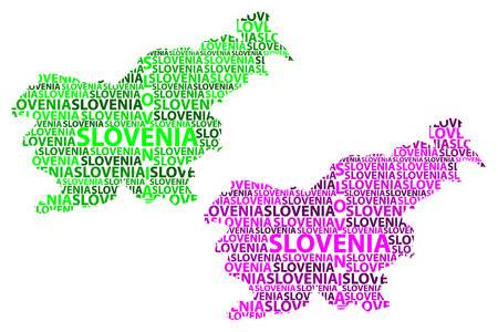 Sketch Slovenia letter text map, Republic of Slovenia - in the shape of the continent, Map Slovenia - green and purple vector illustration