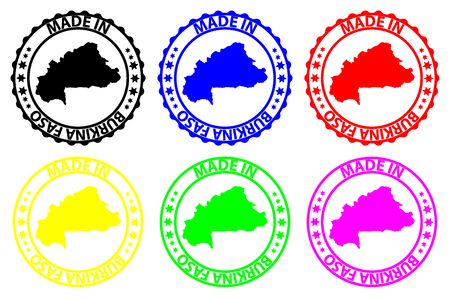 Made in Burkina Faso - rubber stamp - vector, Burkina Faso map pattern - black, blue, green, yellow, purple and red