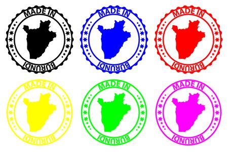 Made in Burundi - rubber stamp - vector, Burundi map pattern - black, blue, green, yellow, purple and red