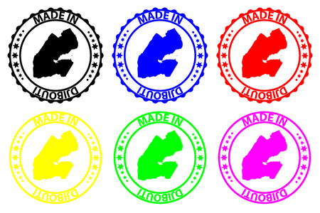 Made in Djibouti - rubber stamp - vector, Djibouti map pattern - black, blue, green, yellow, purple and red