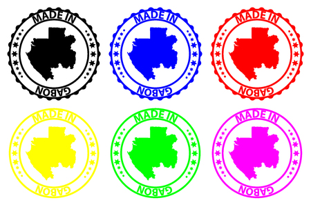 Made in Gabon - rubber stamp - vector, Gabon map pattern - black, blue, green, yellow, purple and red Illustration