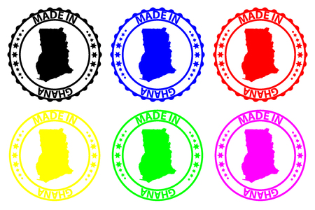 Made in Ghana - rubber stamp - vector, Ghana map pattern - black, blue, green, yellow, purple and red