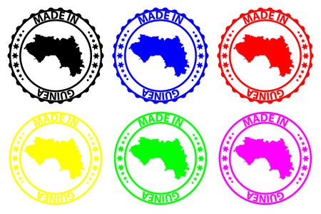 Made in Guinea - rubber stamp - vector, Guinea map pattern - black, blue, green, yellow, purple and red