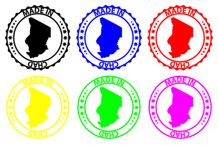 Made in Chad - rubber stamp - vector, Chad map pattern - black, blue, green, yellow, purple and red Illustration