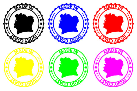 Made in Ivory Coast - rubber stamp - vector, Ivory Coast map pattern - black, blue, green, yellow, purple and red