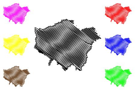 Greater London (United Kingdom, England) map vector illustration, scribble sketch London region map
