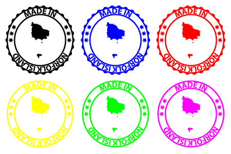 Made in Norfolk Island - rubber stamp - vector, Norfolk Island map pattern - black, blue, green, yellow, purple and red Illustration