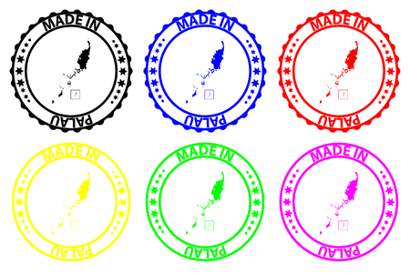 Made in Palau - rubber stamp - vector, Republic of Palau map pattern - black, red, blue, green, yellow, purple