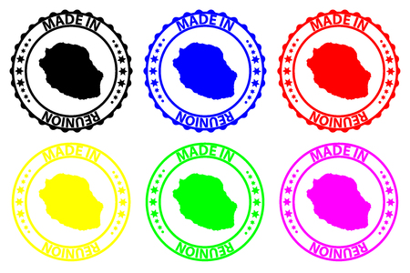 Made in Reunion - rubber stamp - vector, La Reunion map pattern - black, blue, green, yellow, purple and red