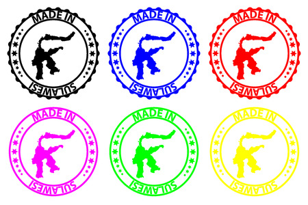 Made in Sulawesi - rubber stamp - vector, Sulawesi map pattern - black, blue, green, yellow, purple and red Vektoros illusztráció