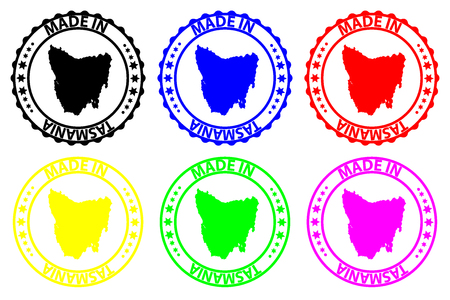 Made in Tasmania - rubber stamp - vector, Tasmania map pattern - black, blue, green, yellow, purple and red Illustration
