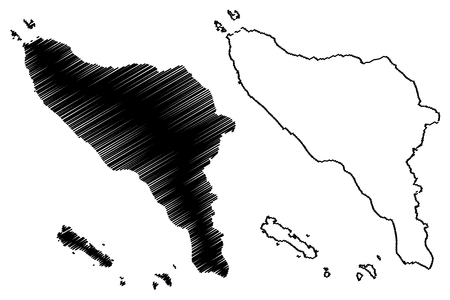 Aceh (Subdivisions of Indonesia, Provinces of Indonesia) map vector illustration, scribble sketch Aceh map Illustration