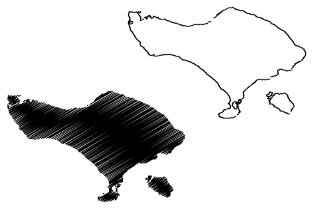 Bali (Subdivisions of Indonesia, Provinces of Indonesia) map vector illustration, scribble sketch Bali (Lesser Sunda Islands) map