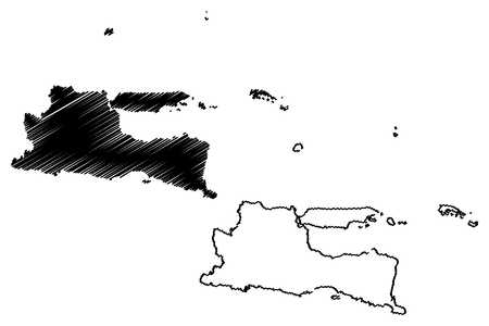 East Java (Subdivisions of Indonesia, Provinces of Indonesia) map vector illustration, scribble sketch Jawa Timur map