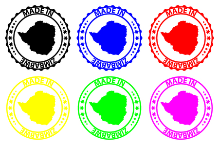 Made in Zimbabwe - rubber stamp - vector, Zimbabwe map pattern - black, blue, green, yellow, purple and red Illustration