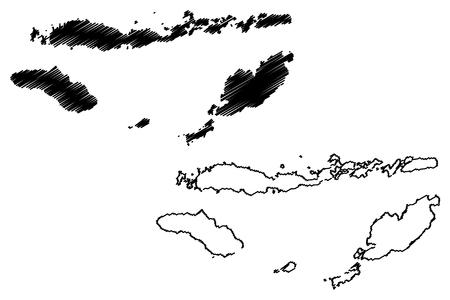 East Nusa Tenggara (Subdivisions of Indonesia, Provinces of Indonesia) map vector illustration, scribble sketch Nusa Tenggara Timur (Lesser Sunda Islands) map