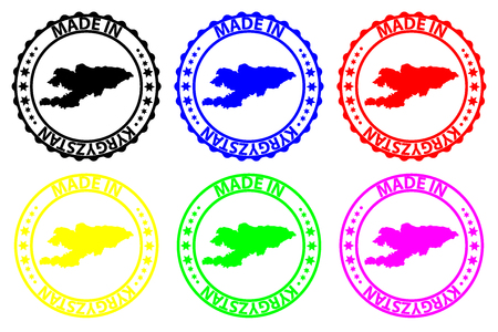 Made in Kyrgyzstan - rubber stamp - vector, Kyrgyzstan map pattern - black, green, blue, yellow, purple and red