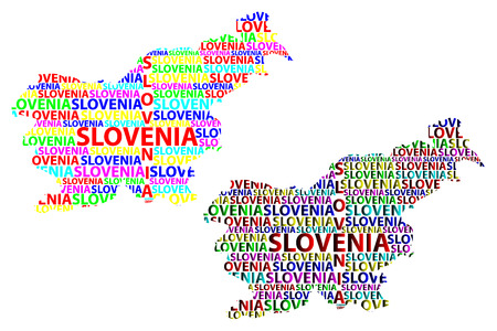 Sketch Slovenia letter text map, Republic of Slovenia - in the shape of the continent, Map Slovenia - color vector illustration