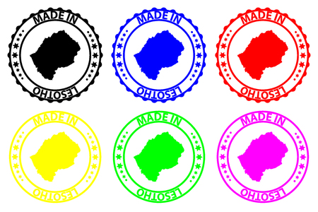 Made in Lesotho - rubber stamp - vector, Lesotho map pattern - black, blue, green, yellow, purple and red Illusztráció