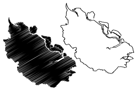 Riau (Subdivisions of Indonesia, Provinces of Indonesia) map vector illustration, scribble sketch Riau map