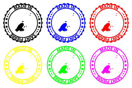 Made in Saint Pierre - rubber stamp - vector, Saint Pierre map pattern - black, blue, green, yellow, purple and red